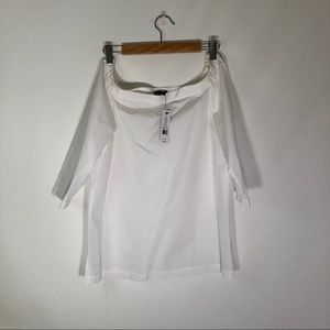 THEORY NWT Semi-Off-Shoulder White Blouse